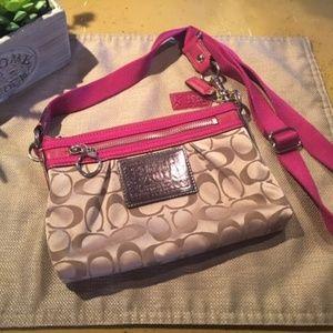 Coach Tan & Pink Crossbody Bag